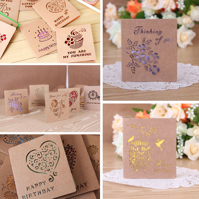 Folding Mini Greeting Card Colored Cartoon Wish For Wedding Birthday