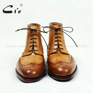 Image 3 - cie round toe full brogues medallion 100%genuine calf leather boot patina brown handmade leather lacing mens ankle boot  A98