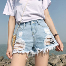 все цены на Women's Junior Ripped High Rise Frayed Hem Stretchy Distressed Jeans Shorts Summer 2019 Fashion Denim Shorts C315 онлайн
