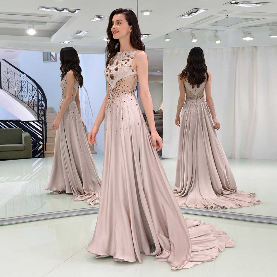 43deb24833 Dressv elegant evening dress sleeveless zipper up floor-length beaded  wedding party formal dress a line evening dresses