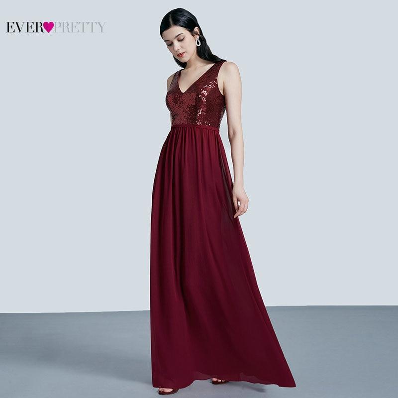 Ever Pretty Robe De Soiree 2019 New Fashion Sequins Chiffon Long Evening Dresses Elegant A Line Burgundy Party Gowns EP07346BD