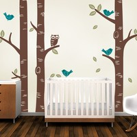 Cute Owl Birds Large Birch Tree Wall Sticker Decal Wallpaper Mural Nursery Baby Forest Home Background