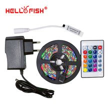 Hello Fish 5M /28353528 300 SMD Flexible LED Strip Light + 24 keys IR Remote Controller +12V 2A Power Adapter Free Shipping