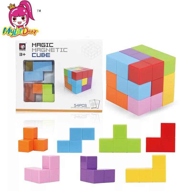 Magnetic Cubes Magnetic Designer Building Construction Toys Set Magnet Educational Toys For Children Kids Gift Puzzle Magic Cube