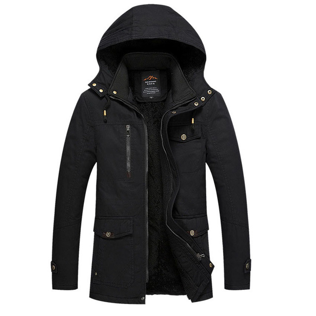 Newest Men's Winter Warm Jacket Solid Overcoat Hooded Length Sleeve Water washing Outwear Clothes male Parkas Fashion Top 120hfx