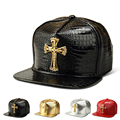 Baseball PU Hats Solid Cross Jesus Pendant Casual Snapback  Rhinestone Logo Hip Hop Rap  Snapback for Men Women Golden  Silver