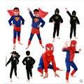 2016 niños de Color Rojo traje de spiderman batman superman disfraces de halloween para los niños superhéroe capas anime cosplay costume carnival