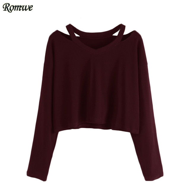 ROMWE Ladies Long Sleeve Crop Top Women T-shirt Clothes Autumn Casual Tee Shirt 2017 Burgundy Cut Out Neck T-shirt