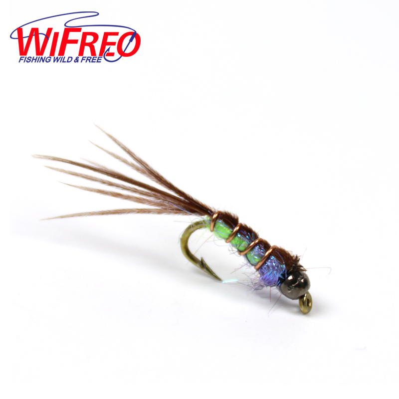Wifreo 6PCS 14#  Tungsten Beadhead Pheasand Tail Nymph Fly Trout Fly Fishing Baits 12pcs 14 red tail bead head buzzer nymph fly for trout fishing lures