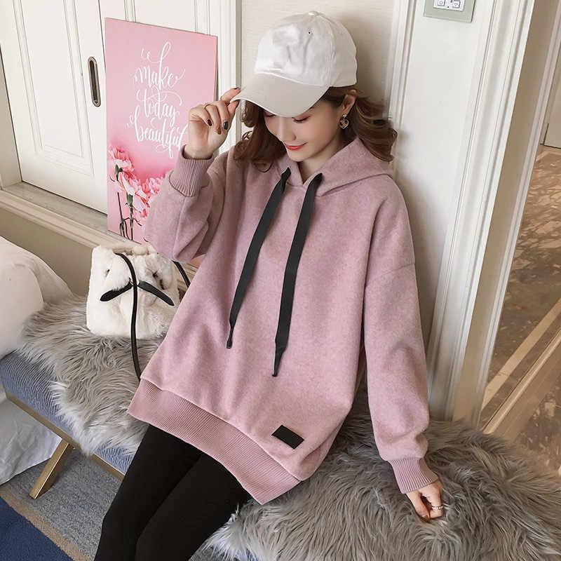 冬毛深いトップス妊婦マタニティ服プルオーバースウェットシャツパーカーシャツ秋ルースマタニティドレスの妊娠の服