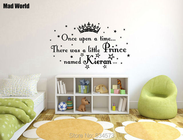 Mad World PERSONALISED PRINCE NAME Little Boy Wall Art Stickers Wall Decal  Home DIY Decoration Removable Decor Wall Stickers