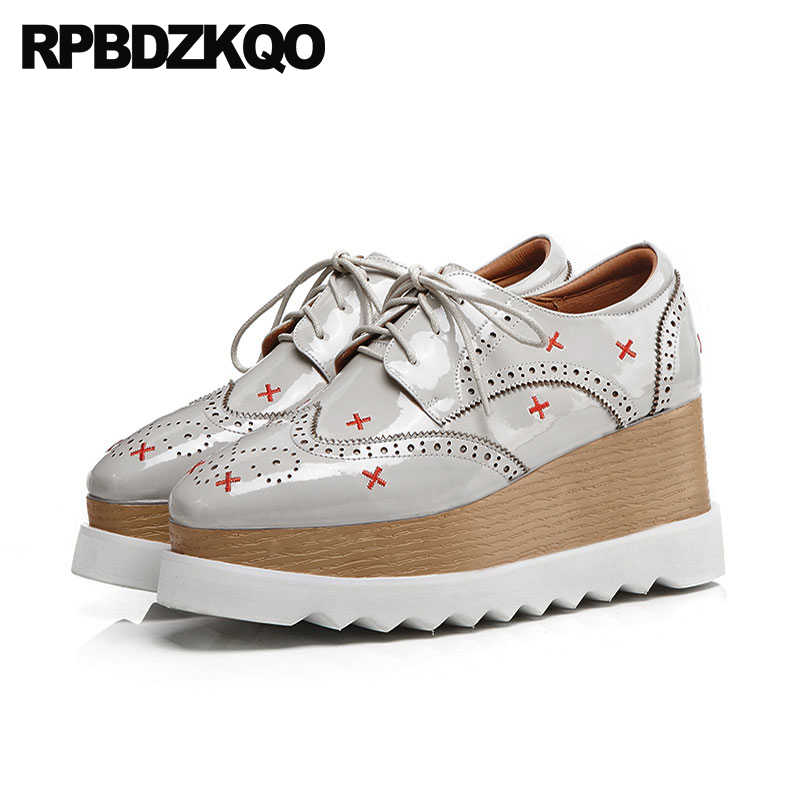 b646b1b6b246 wedge brogue embroidery oxfords grey patent leather custom women  embroidered creepers platform shoes large size japanese