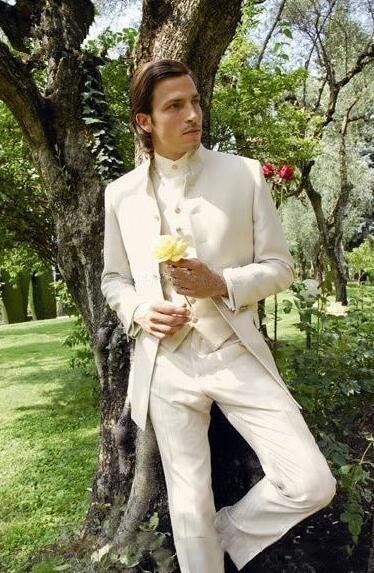Custom Made Ivory Stand Collar Groom Tuxedos Best Man Groomsmen Men Wedding Suits Bridegroom Blazer Suits (Jacket+Pants+Vest)
