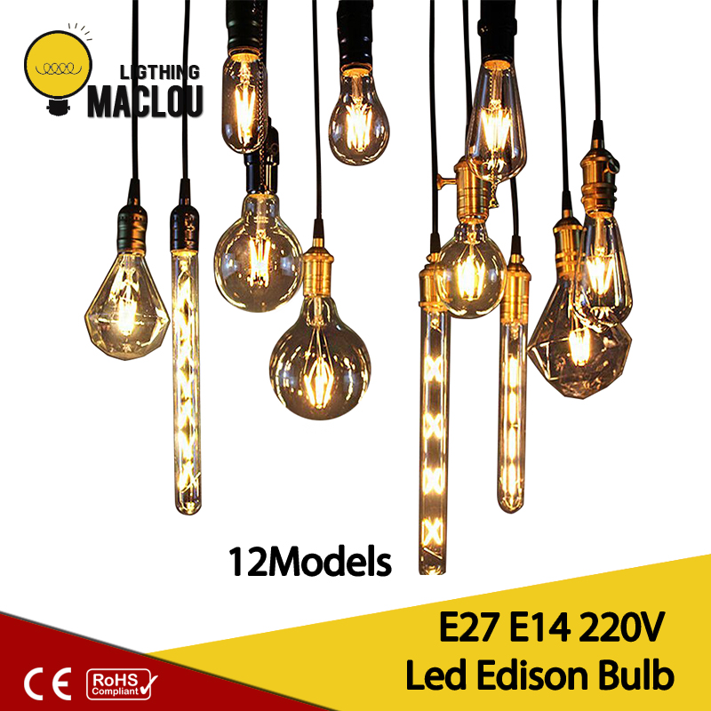 E27 E14 Antique Retro Edision Led Bulb 2W 4W 6W Vintage Led Incandescent Lamp 220v Warm White Candle Light Glass Filament Lamp hdx lzd 603b e14 4w 12lm 3500k warm white light 32 led candle light bulb golden