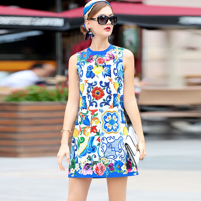 High Quality New Runway Summer Dress Women s Sleeveless Vintage Luxury Sequin Crystal Beading Floral Print