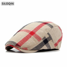 SILOQIN  Spring Summer New Style Breathable Thin Section trend Berets For Women Adjustable Size Retro Plaid Cloth Tongue Caps