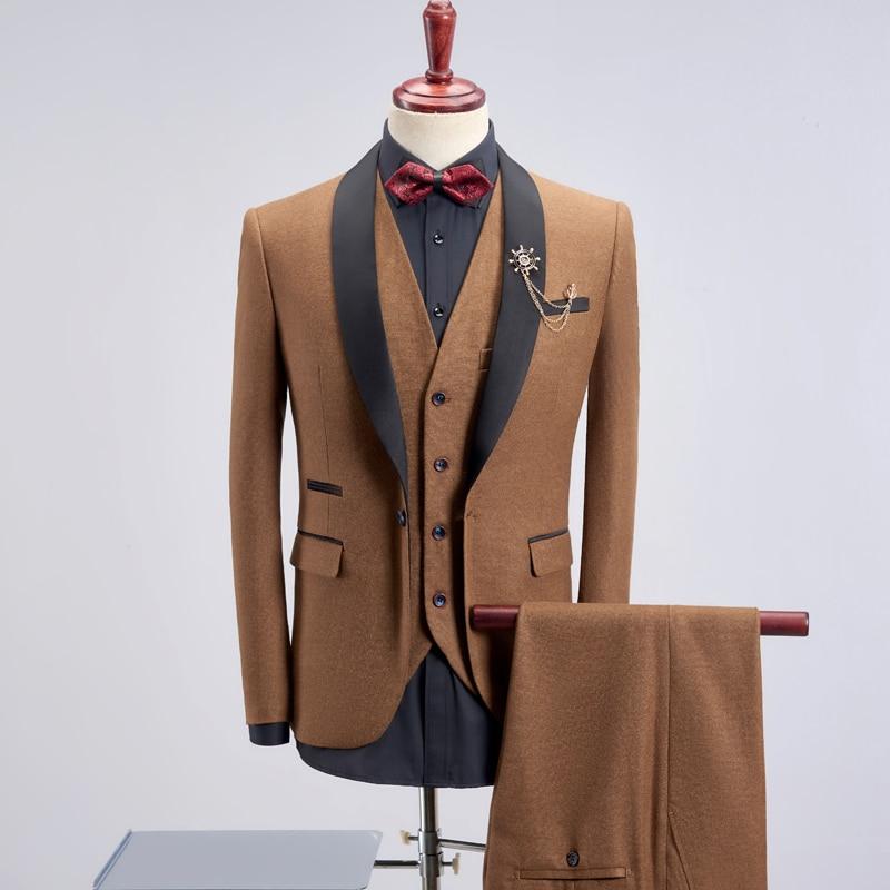 Men's Suit Three-piece Suit, Banquet Host Performance Gown, Groom Groomsmen Wedding Dress! Jacket + Vest + Pants