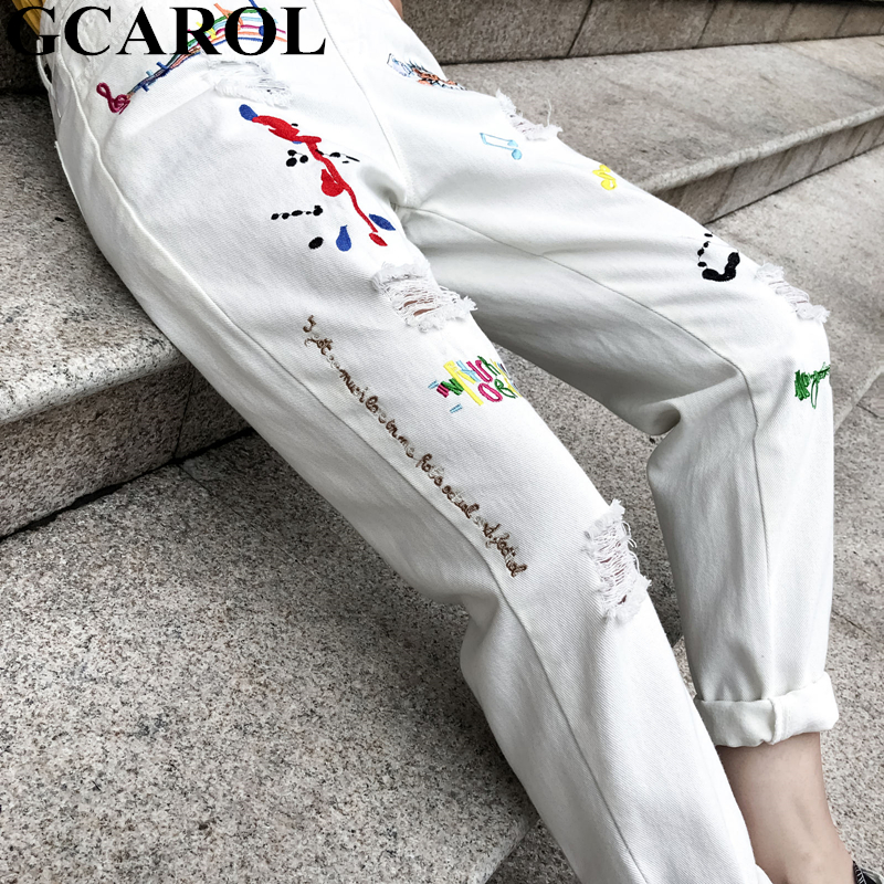 GCAROL 2019 Spring Summer Women Retro Old Jumpsuits Embroidered Ripped  Style Rompers Cute Sweet Preppy Style Streewear Overalls