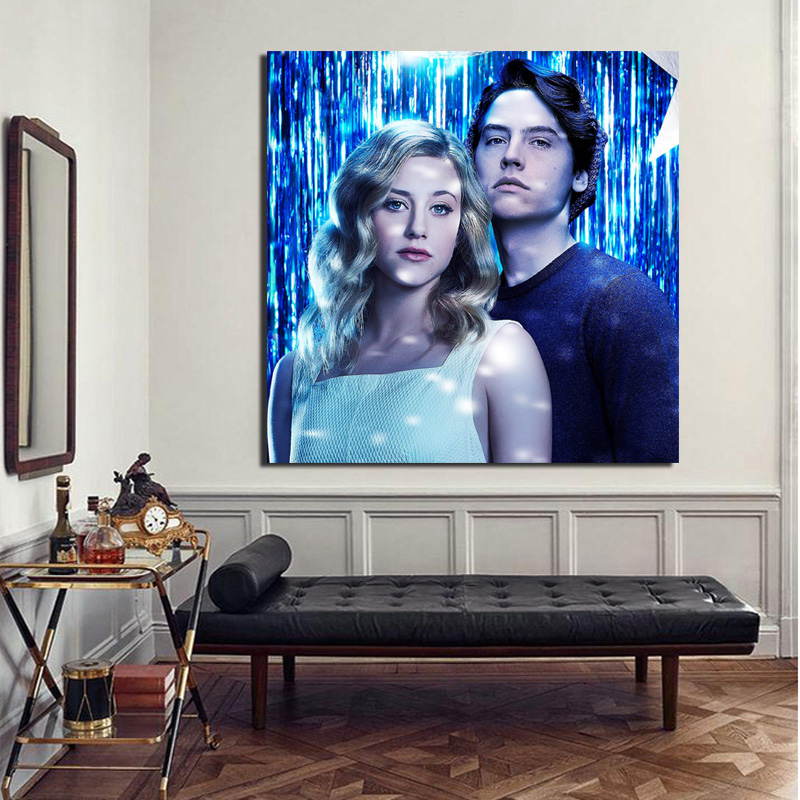 Riverdale lili Reinhart And Cole Sprouse Canvas Painting Living Room Home Decoration Modern Wall Art Oil Painting Poster Picture in Painting Calligraphy from Home Garden