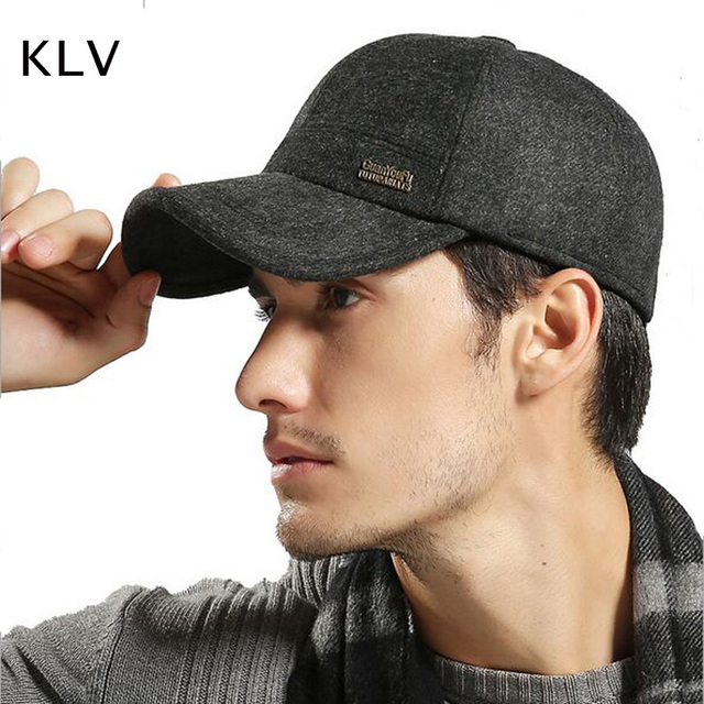 2017 Warm Winter Spring Thickened Baseball Cap With Ears Men S Wool Hat  Snapback Hats Ear Flaps 4a2f86e2232