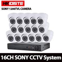 16Ch CVR CCTV AHD DVR System Kit Waterproof 16 Channel 720P/1080P HD CVR NVR DVR With 16Pcs Sony Dome 1200tvl 720P Camera System