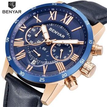2020 marca de lujo superior BENYAR moda azul relojes hombres cuarzo reloj Masculino cronógrafo reloj de pulsera de cuero Relogio Masculino
