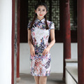 High Quality Cotton Linen Female Summer Dress Traditional Chinese Women Short Sexy Qipao Print Cheongsam S M L XL XXL 2611-5