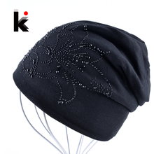 2016 шапка для девочки Шапочка Бонне Осенью И Зимой кепки Хип-Хоп Кепка Цветок Горный Хрусталь Шляпы Для Женщин Шапочки Балаклава шапки женские зимние
