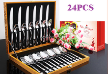 free shipping knife and fork set western cutlery 24pcs quality inox steak knife and fork spoon with wood box