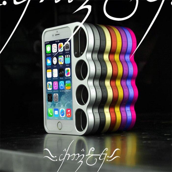 imágenes para Fresco estilo nudillo del dedo del metal de parachoques para el iphone 6 s 6 señor de los anillos de aluminio cajas del teléfono móvil