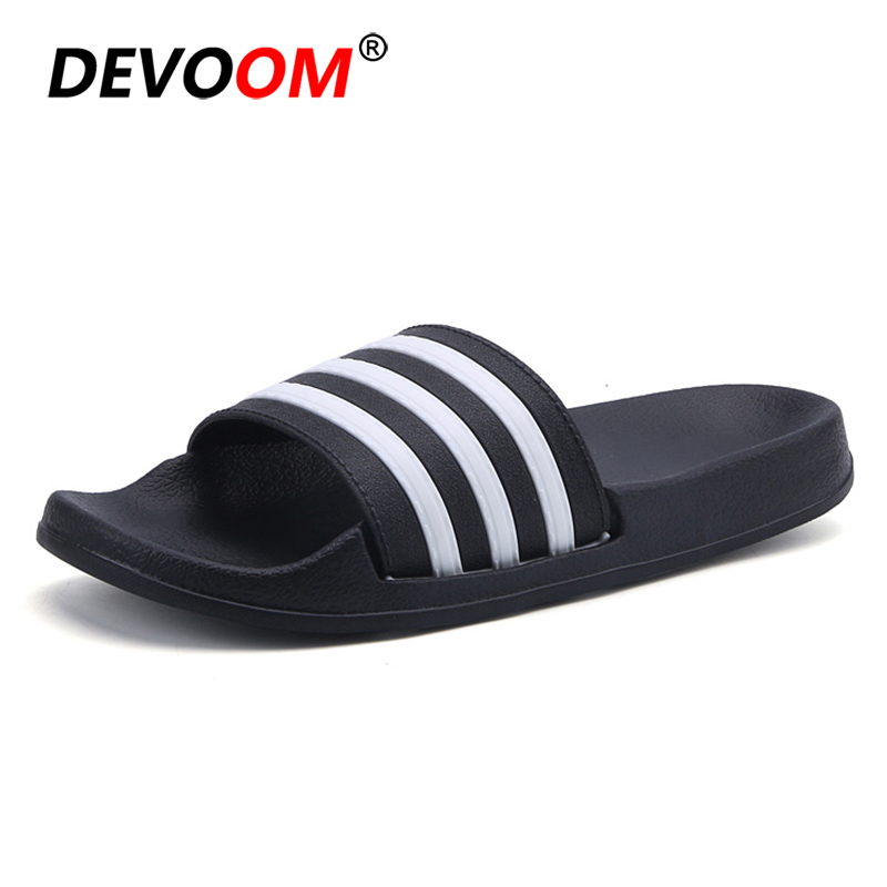 Summer Home Slippers Women Fashion White Black Stripe Upper Slippers For Woman Beach Garden Living Room Unisex Lovers Shoes #40 new unisex new fashion men shoes summer slippers beach men slippers women casual slippers lovers three stripe outdoor slipper