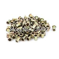 8mm Thread Dia Zinc Plated Rivet Nut Rivnut Insert Nutsert Brass Tone 100Pcs