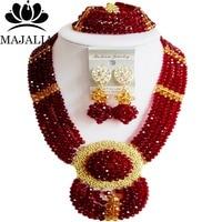 Majalia Fashion Nigeria Wedding African Beads Jewelry Set Wine burgundy Crystal Necklace Bridal Jewelry Set Free Shipping 6DN029