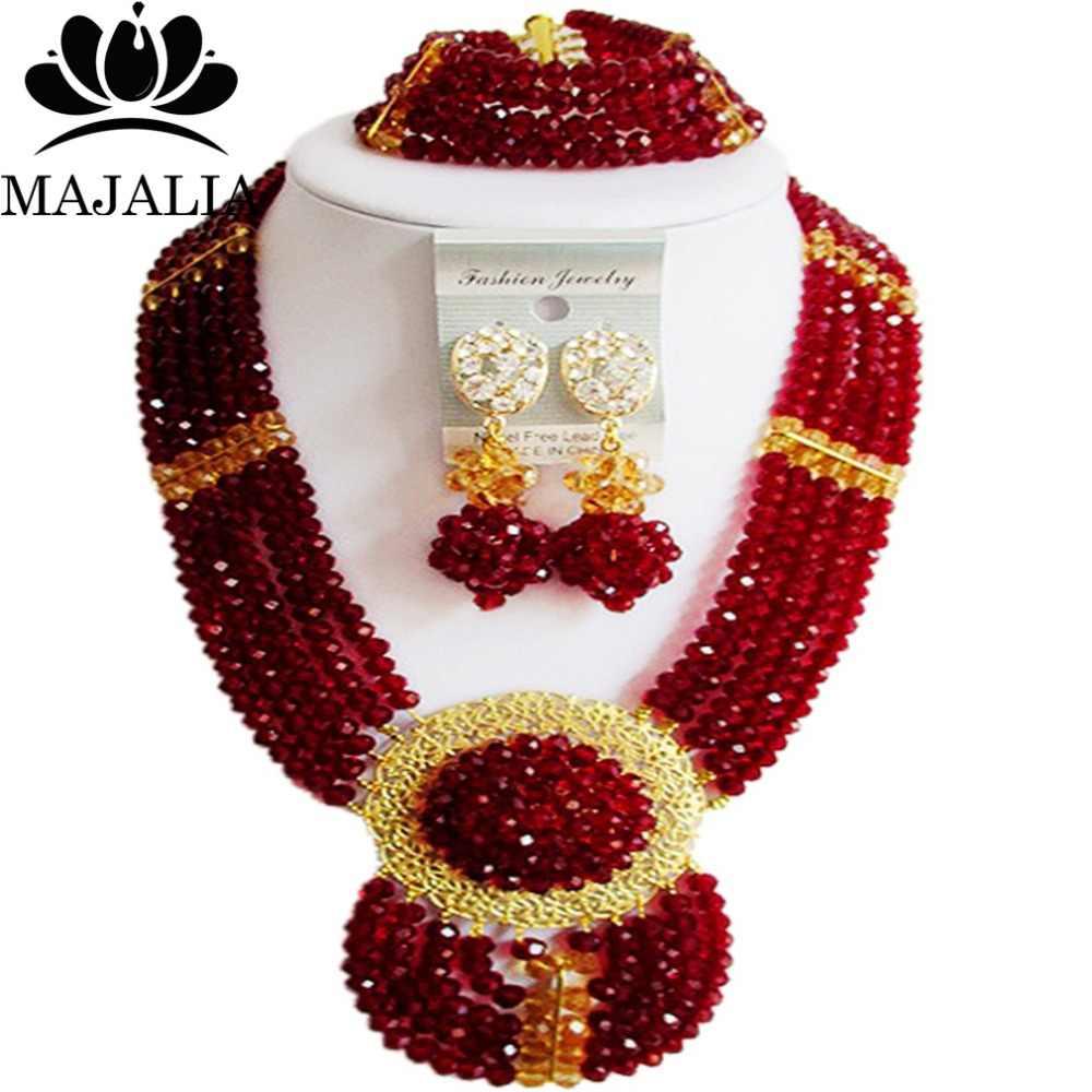 Majalia Mode Nigeria Hochzeit Afrikanische Perlen Schmuck-Set Wein burgund Kristall Halskette Brautschmuck Set Kostenloser Versand 6DN029