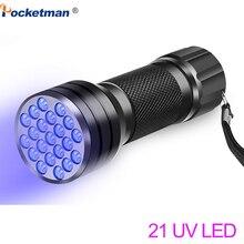 UV El Feneri 21LED 12LED UV Işık 395 400nm LED UV Fenerleri linterna torch Ultraviyole Siyah Işık lambası
