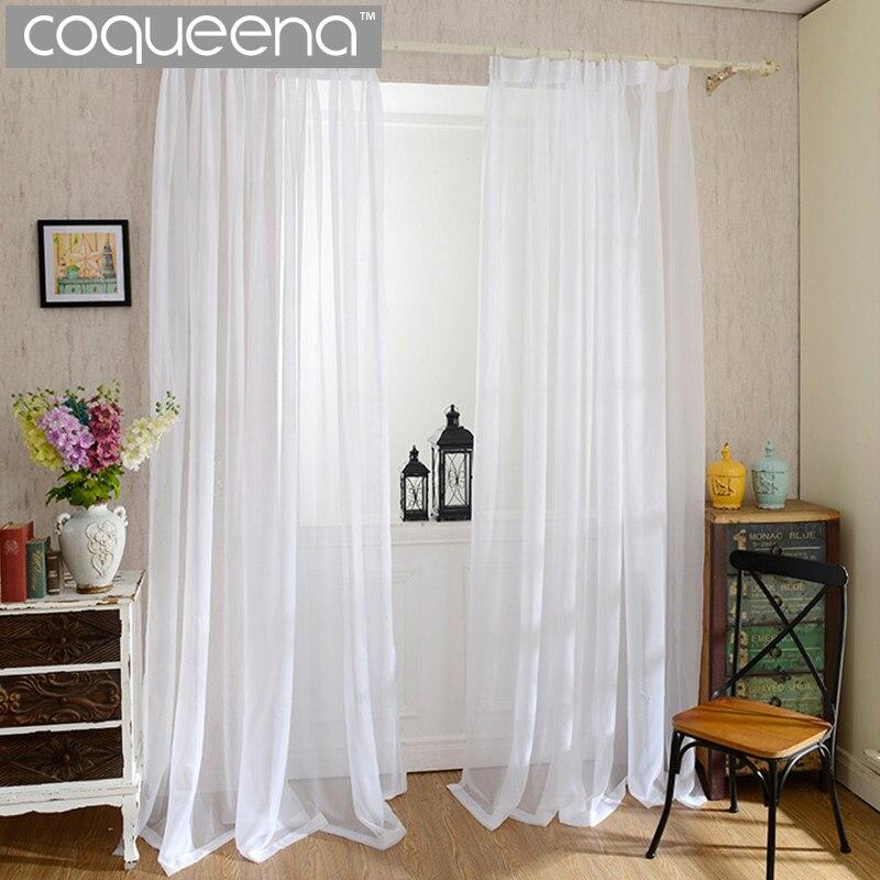 barato blanco liso cortinas para la cocina dormitorio sala de estar cortinas de voile cortina de puerta ventana de