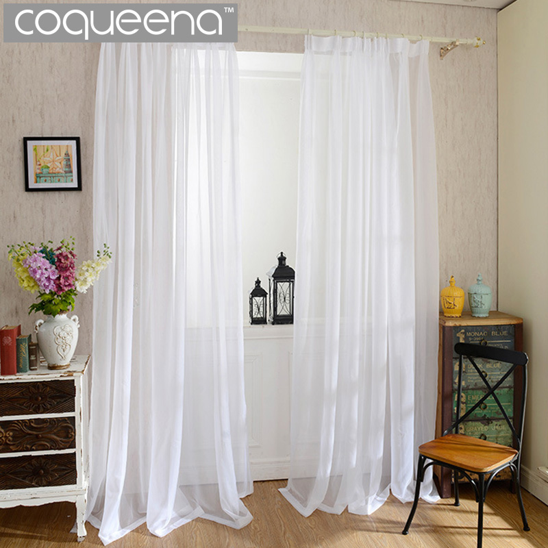 Cheap Plain White Sheer Curtains For Kitchen Living Room Bedroom Window  Tulle Curtain Voile Door Curtain