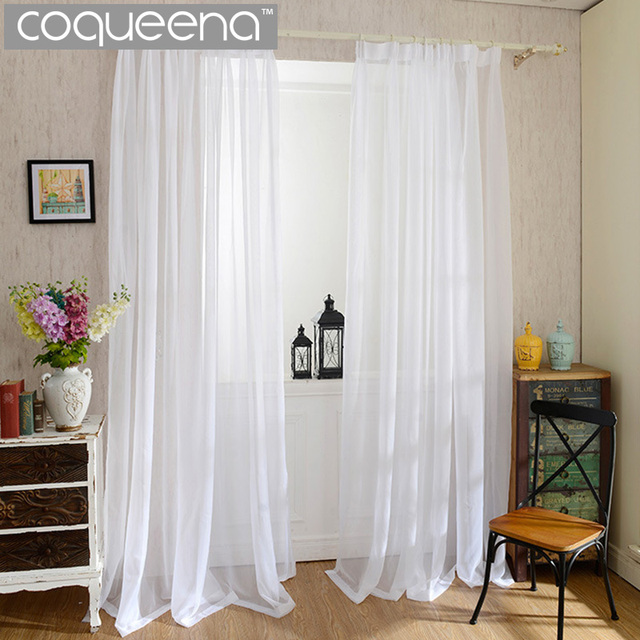 Buy Cheap Plain White Sheer Curtains For Kitchen Living Room Bedroom Window