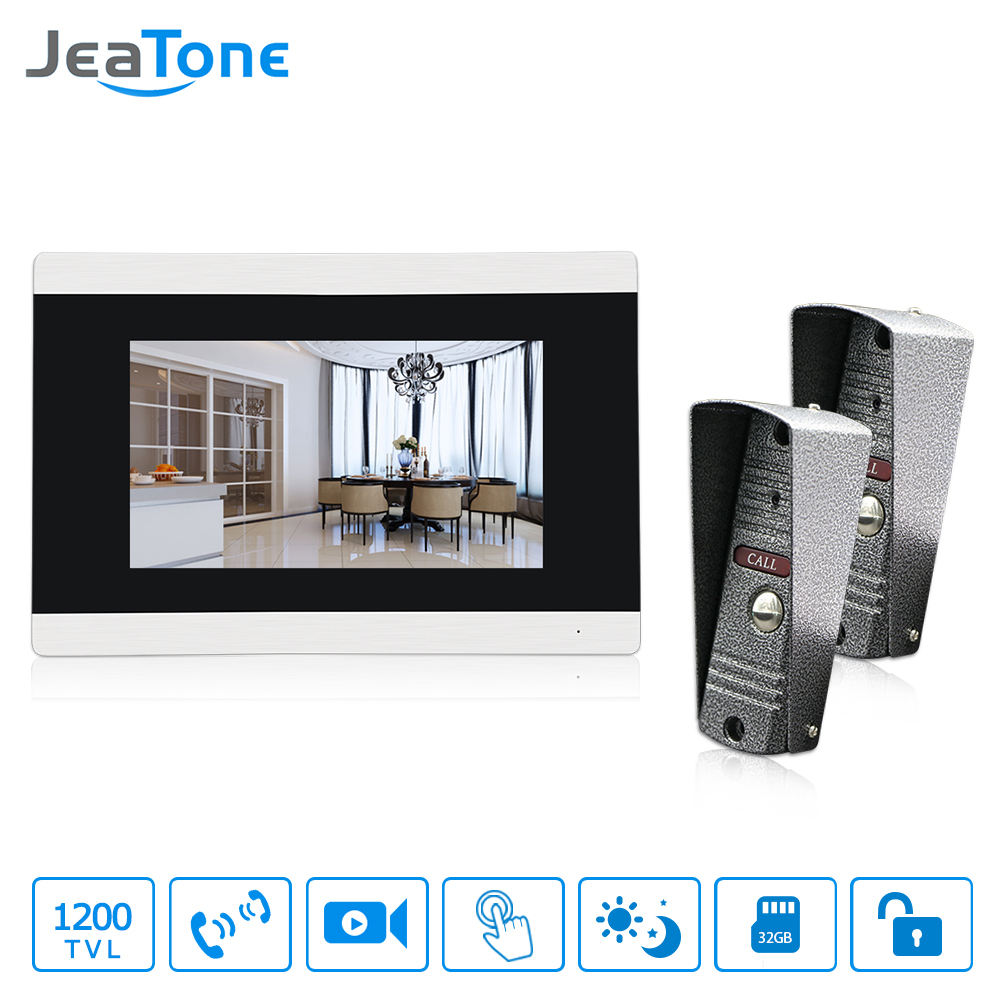 JeaTone Touch Screen Monitor HD Wired Doorbell Camera IR LED Night Vision Unlock Electronic Door Video and Photograph Recording