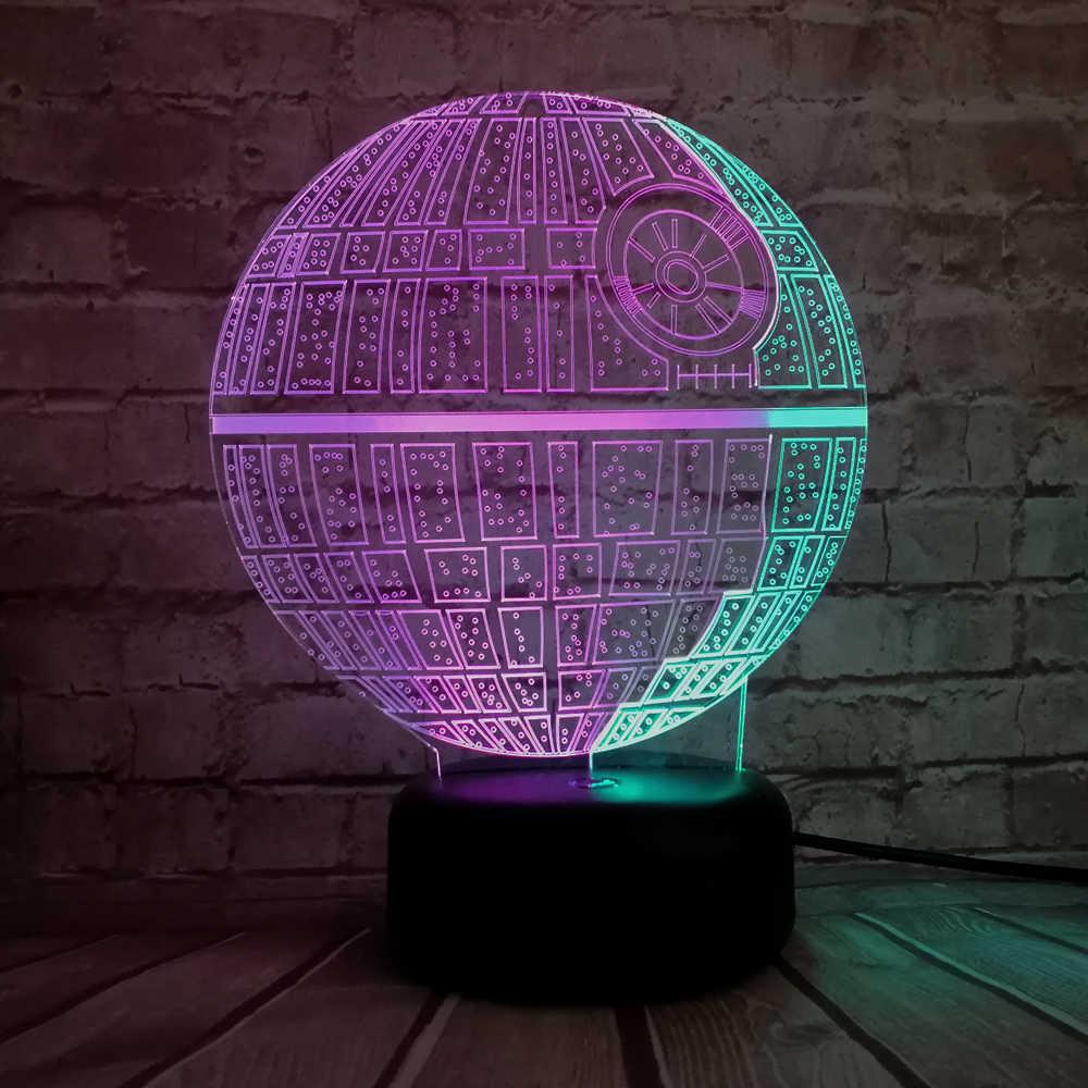 Lâmpada criativa Figura Star Wars Death Star Cor Misturada 3D USB CONDUZIU a Lâmpada de Luz Noturna Chirstmas Presente Do Menino Miúdo Dos Desenhos Animados brinquedos Toque