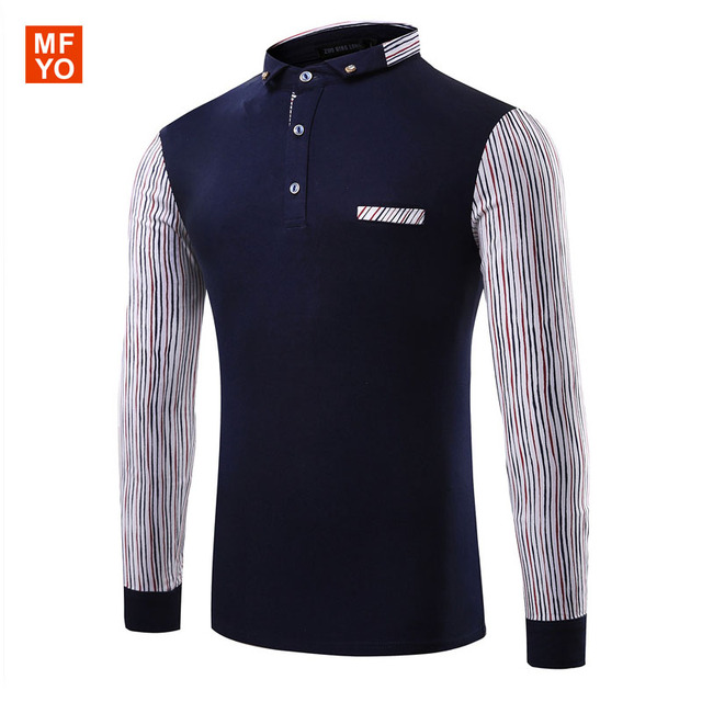 Fashion Long Sleeve Men's Polo Shirt High Quality patchwork color Cotton Polo Mens Shirt Casual Slim Fit polo homme Tops Tee 3XL