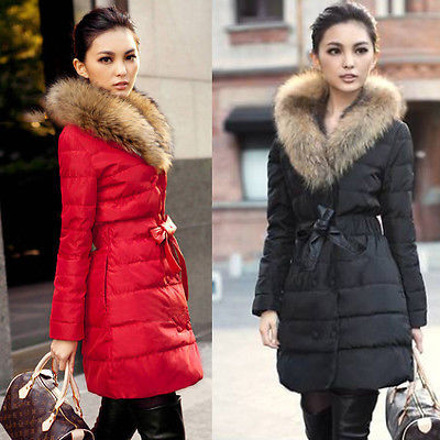Classic Winter Women Ladies Down Fur Parka Long Fur Collar Hooded Coat Jacket