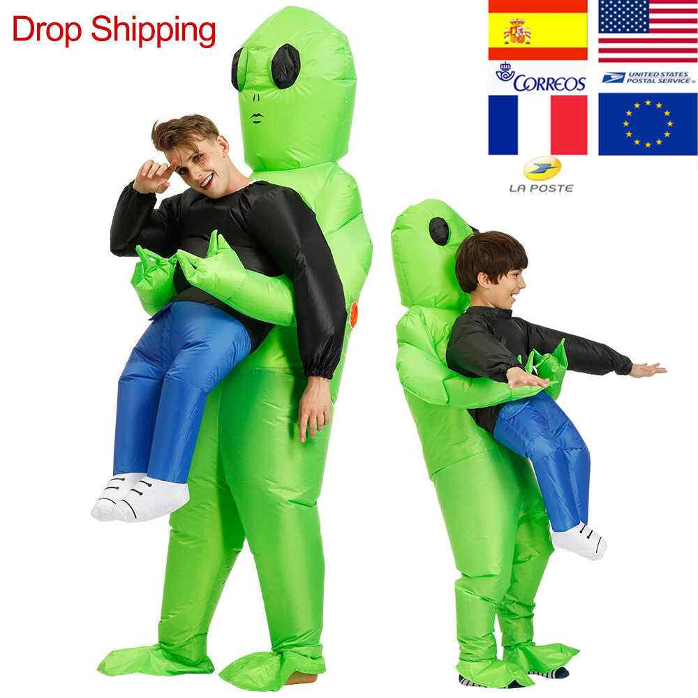Costume de monstre gonflable ET-Alien effrayant Costume de Cosplay extraterrestre vert pour adulte Halloween fête Festival scène Pick-Me Up