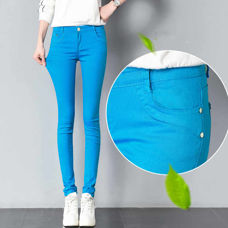 FSDKFAA Women Pants Candy Jeans 2018 Spring Fall Pencil Pants Slim Casual Female  Stretch Trousers White 7d5d238a9ec2