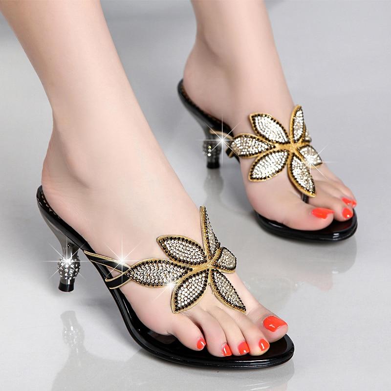 Flip Flops Slippers Women Shoes Fashion Crystal Flowers High Heels Slides Clip Open Toe Thin Heels