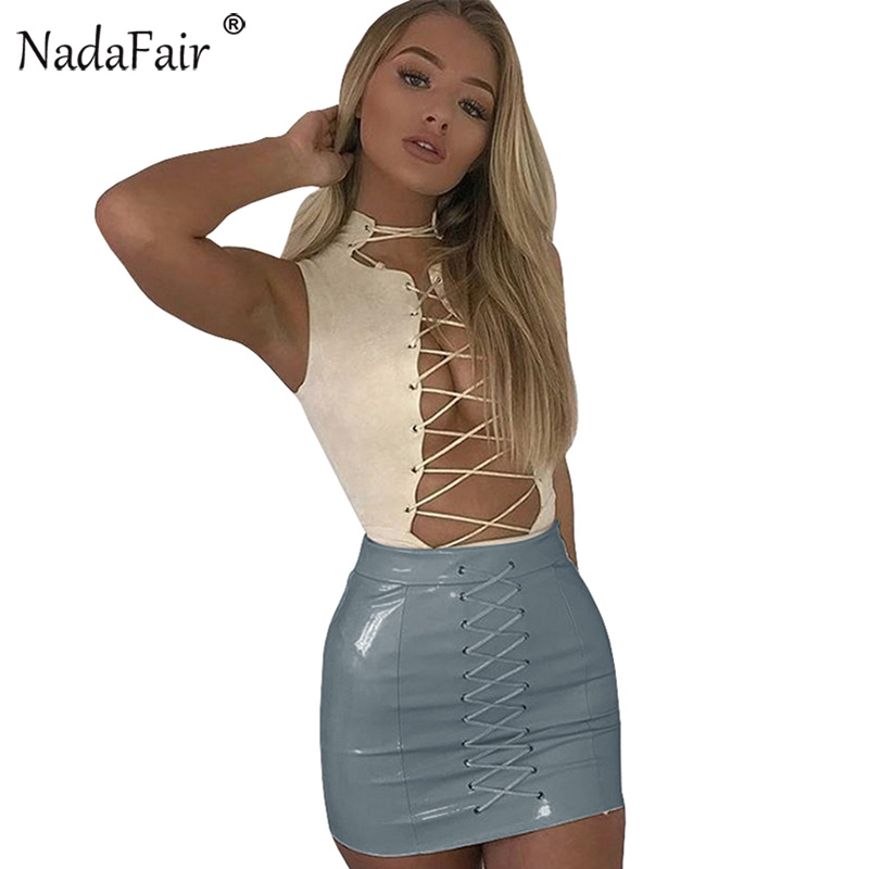 Nadafair Lace-up Wrap Bodycon Pu Skirts Women Spring Mini Casual High Waist Faux Leather Skirts