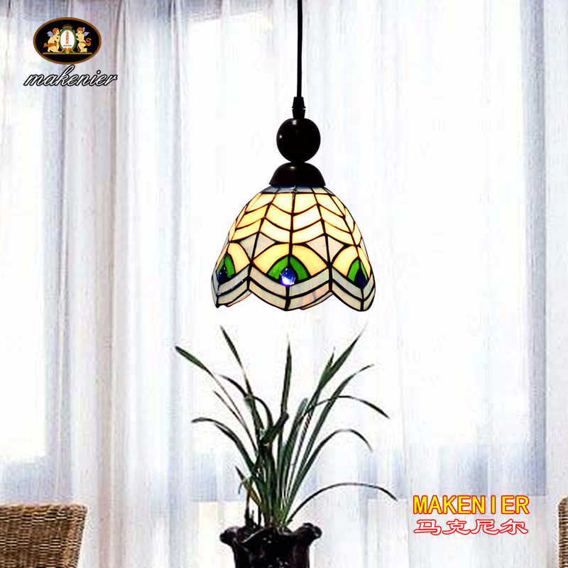 Makenier Tiffany Style Stained Glass Peacock Feather Vintage Small Pendant Lamp, 6.7 Inches Lampshade snsd tiffany autographed signed original photo 4 6 inches collection new korean freeshipping 012017 01