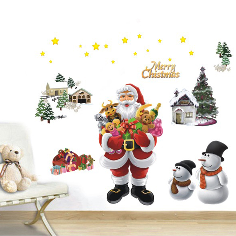 Merry christmas wall sticker the santa claus removable for Christmas wall mural plastic