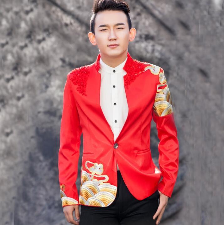 Hommes costumes rouges conçoit masculino homme terno scène costumes pour chanteurs hommes blazer danse star style robe punk hommes vêtements