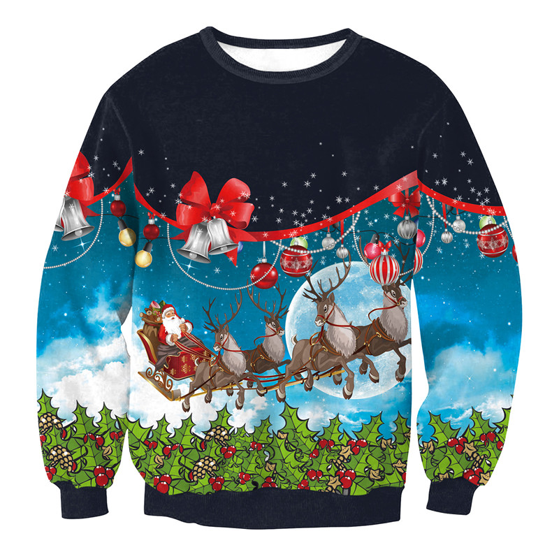 New Christmas 3D Printed Unisex Pullovers Sweatshirts Colorful Cartoon Elk Santa Claus Tops O-Neck Long Sleeve Couple Sweaters